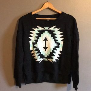 Charlotte Russe sweater top black ethnic Aztec M